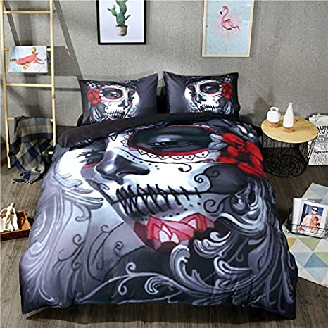 FEIDANNO Day of The Dead Decor Skull Girl in Decorative Flower Duvet Cover Bedding Sets (1, Twin 2 pcs($39.88)) JINWU HOME