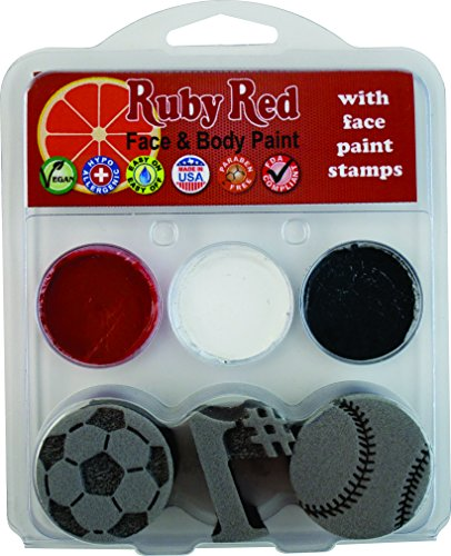 Ruby Red Paints Sports Baseball, Soccer Face Paint Kit with Face Paint Stamps ()