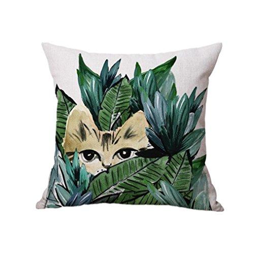 Vibola Parrot Cat Sofa Bed Home Office Decoration Festival Pillow Case beach Cushion Cover Linen Cotton Pillowcase Cute Owl Printed Pillows Zipper Pillow Cushion Flax (Cute Halloween Print Outs)