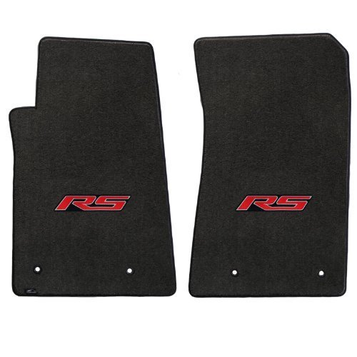 (2010-2014 Chevy Camaro 2pc Ebony Black Floor Mats Set with RS Logo in Red)