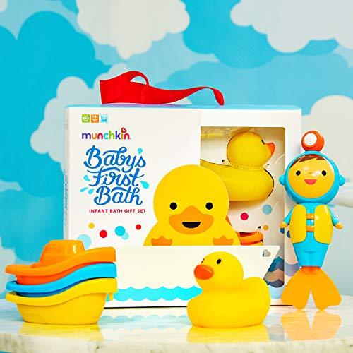 51gSDnEKM L - Munchkin Baby's First Bath, 3 Piece Bath Toy Gift Set, Bath Gift Set