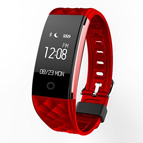 Price comparison product image Fitness Tracker S2 Smart Bracelet Heart Rate Monitor Sleeping Tracker Bluetooth Pedometer Calorie Counter IP67 Waterproof Smart Sports Wristband Alert & Notification Reminder For Ios / Android (Red)