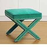 Modern Velvet Upholstery X Legs Ottoman with Nailhead Trim - Includes Modhaus Living Pen (Green)