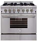 """AGA APRO36DFSS 36"""" Professional Dual Fuel Range with RapidBake Convection, Stainless Steel"""