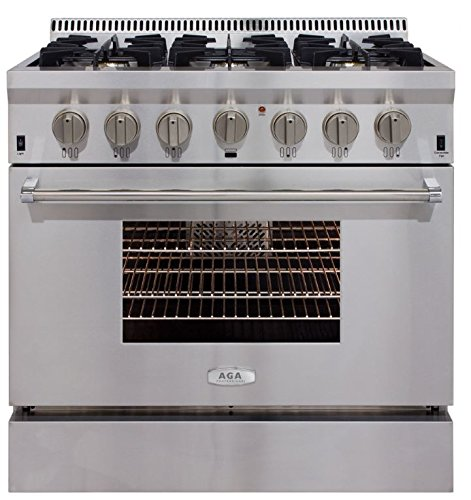 AGA APRO36DFSS 36″ Professional Dual Fuel Range with RapidBake Convection, Stainless Steel
