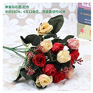 JIAHUAHUHH Single Bundle of European Artificial Flowers, Fake Flowers, Single Decorative Silk Flowers,red,31cm 37