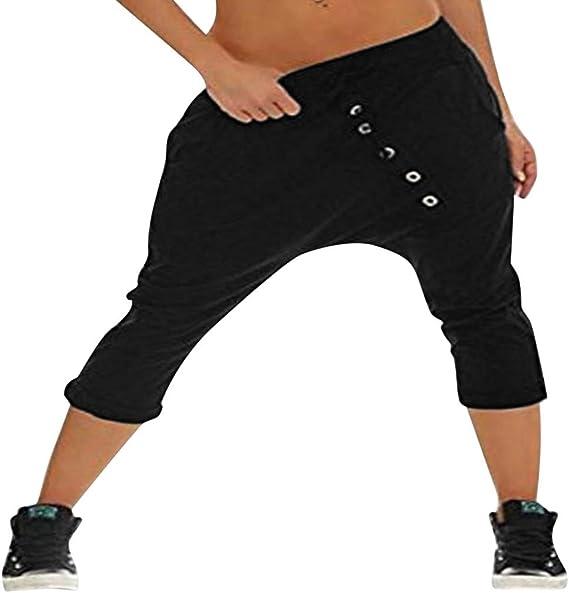 Damen Haremshose Baggy Freizeithose Stoffhose Hosen Trainingshose Gym Sweathose