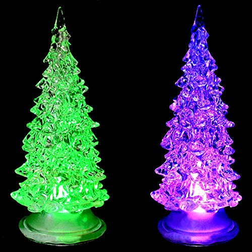 Colorful Fiber Optic Tree Christmas LED Home Party Xmas Decoration Table Party Decor Charm Nightlight Desk Bedroom Decoration LED Lamp Paris Fashion Style Acrylic Birthday Gift,2 Pcs, 6.7''
