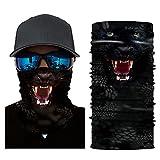 Glumes Face Mask Half Sun Dust Protection|Vivid 3D Animal Tube Mask Seamless|Durable Face Mask|Bandana Skeleton Face Shield|Motorcycle Fishing Hunting Cycling Halloween Party (A)