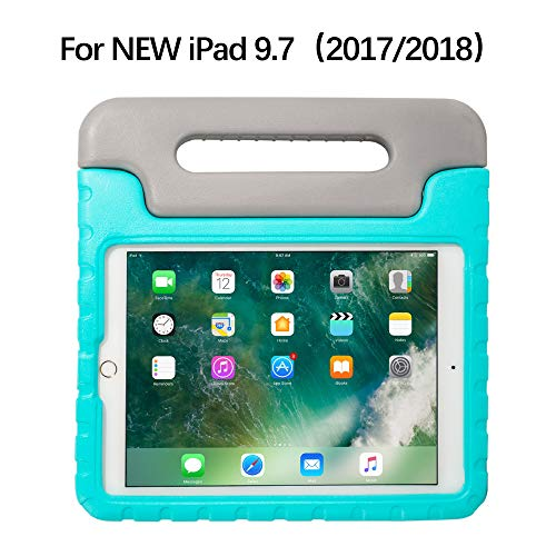 iPad 9.7 Case iPad Air 2 Case for Kids with Adjustable Handle Stand Antibacterial Shockproof Anti-Fall EVA Rugged Cover Case for iPad 5th generation/6th Generation/Apple iPad Air 2(Grey/Green)