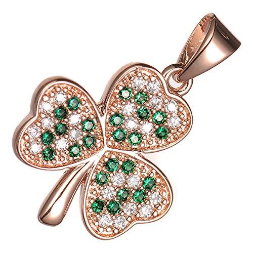 (UPCO Rose Gold Plated Emerald Green CZ Crystal Irish Shamrock Celtic Pendant Necklace)
