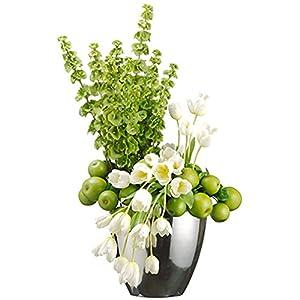 """35""""Hx19""""W Tulip, Apple & Bells Of Ireland Silk Flower Arrangement -Green/White 38"""