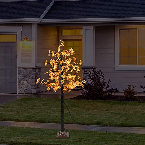 Artificial LED Maple Tree Light, LightMe 6FT 120 Warm White LED Lighted Maple Tree Lamp for Office, Home Patio, Garden, Festival, Party, Wedding, Christmas, Halloween Decor Indoor Outdoor (Bee Yellow) by LightMe (Image #4)