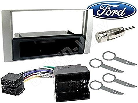 Sound-way Kit Montaje Autoradio, Marco 1 DIN Radio de Coche, Adaptador Antena, Cable Adaptador Conector ISO, Llaves Compatible con Ford C-MAX, Focus, ...