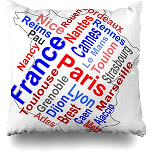 - Throw Pillow Covers City Red Cannes France Map Words Cloud Grenoble Larger Cities Europe French Text Atlas Pillowcase Square Cute 18 x 18 Inches Home Decor Cushion Cases