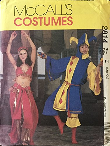 Misses, Men's And Teen Boys Jester And Bellydancer Costumes McCall's Sewing Pattern 2814 (Size Z: 38-44) - Jester Costume Pattern