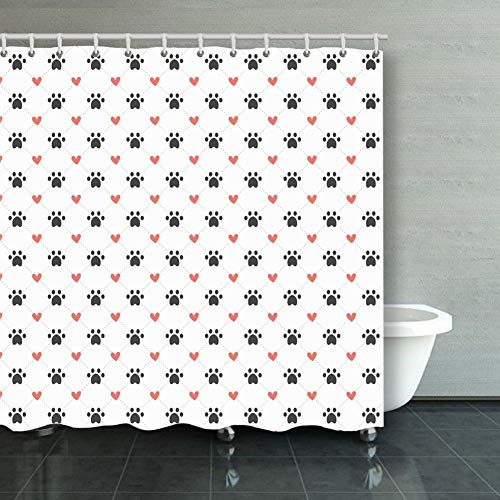 (Shower Curtain dog paw prints hearts lines pattern animals wildlife background Animals Wildlife backgrounds textures background Backgrounds Textures Decorative Bathroom Curtains Colourful 6072inch)
