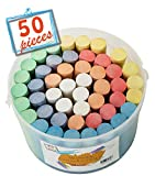 (50 ct Box) Sidewalk Chalk Set Non-Toxic Dustless Chalk Colorful(50 ct Box)