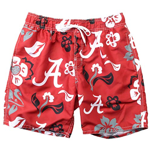 Wes and Willy NCAA Mens Floral Swim Shorts (Large, Alabama Crimson Tide)