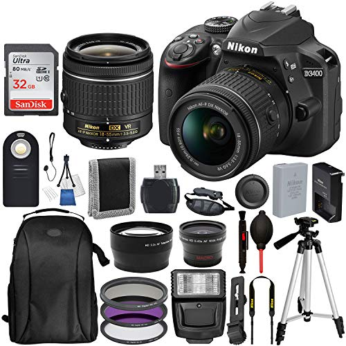 - Nikon D3400 DSLR Camera with 18-55mm Lens and 17PC Accessory Bundle - Includes SanDisk Ultra 32GB SDHC Memory Card + Digital Slave Flash + 3PC Filter Kit + 50