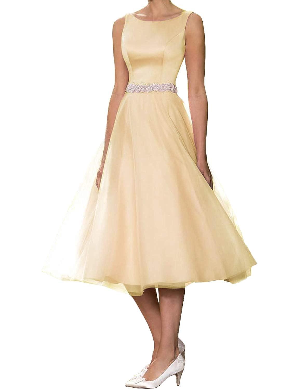 Champagne CIRCLEWLD Elegant Evening Dresses for Weddings Vintage Midi Bridal Gown Plus Size E181