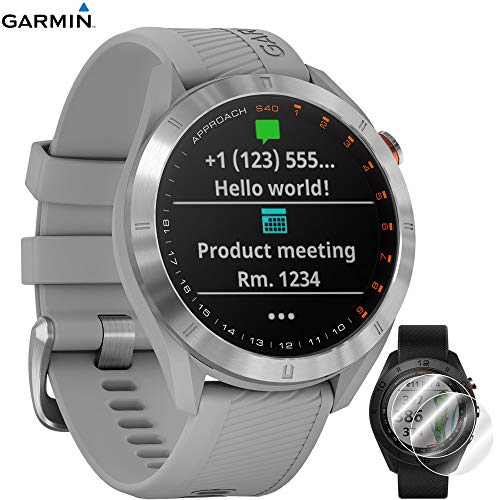 Garmin Approach S40 Golf Watch (Stainless Steel/Powder Gray Band) - 010-02140-00 with Approach S60 Screen Protector 2pack