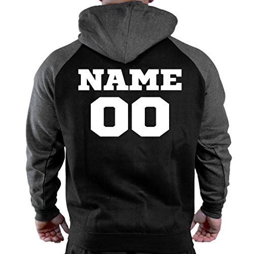 Men's Personalized Athletic Sports Team Black/Charcoal Raglan Baseball Hoodie Sweater 2X-Large Black