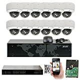 Cheap GW 16 Channel 1920P NVR Video Security Camera System – Twelve 5MP 1920P Weatherproof 2.8-12mm Varifocal Dome Cameras, 80ft IR Night Vision, Realtime Recording 1080p @ 30fps, Pre-Installed 4TB HDD