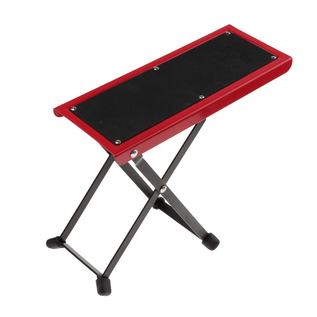MagiDeal Adjustable Guitar Foot Rest Stool Pedal for Guitar Practice Performance - Red