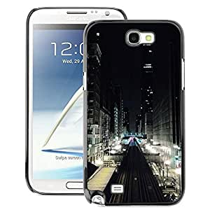 A-type Arte & diseño plástico duro Fundas Cover Cubre Hard Case Cover para Samsung Note 2 N7100 (Lights Street View Buildings)