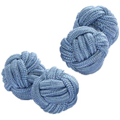 Dusky Pale Blue Silk Knot Cufflinks | Cuffs & Co - Blue Knot Cufflinks