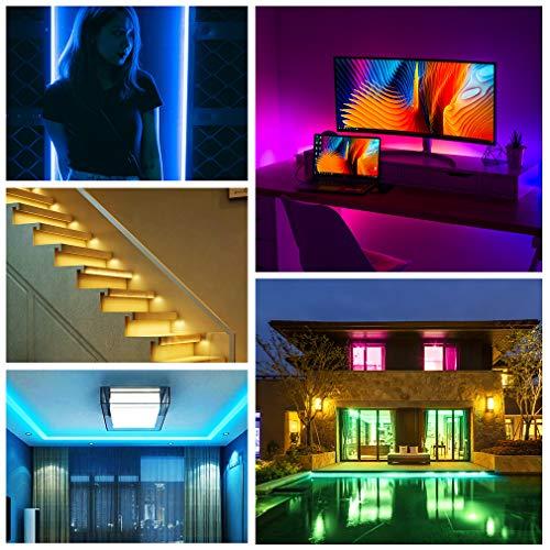 Led Strip Lights, 16.4ft/5M SMD5050 Waterproof RGB Strip Lights, Led Color Changing Strip Lighting with 44 Key Remote Controller Flexible Strip Lights for Home Kitchen Bed Bar Decor