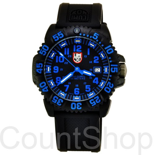 Luminox Men's 3053 Analog Quartz Black Blue Rubber Watch