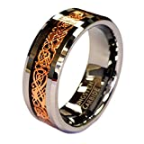 18K Rose Gold Plated Celtic Dragon 8mm Original Stamped COHRO Tungsten Carbide Wedding Band Ring By Cohro Design