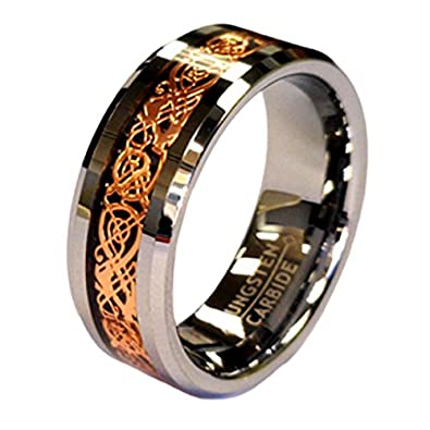Buy 18K Rose Gold Plated Celtic Dragon 8mm Original Stamped COHRO Tungsten Carbide Wedding Band Ring By Cohro Design and other Wedding Bands at Amazon.com. Our