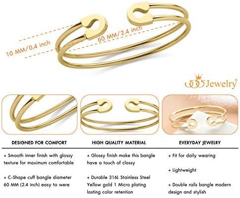 555Jewelry Stainless Steel /& Shell Open Cuff Bangle Bracelet for Women /& Girls