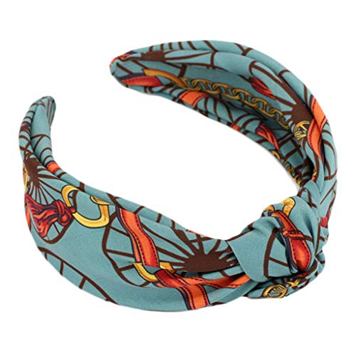 (Simdoc Vintage Bobo Cross Knotted Hair Hoop Wide Headband Colored Printed Knotted Hair Clasp Hairband Head Wrap Headwear For Women And)