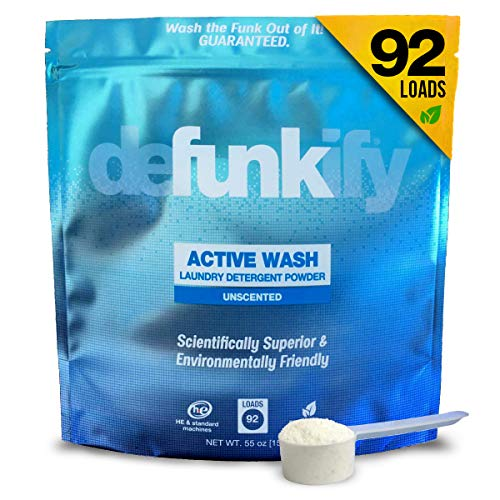 Defunkify Active Wear Laundry Detergent Powder, All Natural, Plant-Based, Enzyme Cleaner, Odor and Stain Remover, Free and Clear, Unscented 55 oz (92 Loads) (Best Laundry Detergent For Sweat Stains)