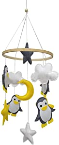 Yissone Baby Crib Rotating Toy Mobile Penguin Star Decoration Felt Rotating Stroller Bedside Bells Rattle Toy Room Hanging Decorative Photography Props Shower Gift