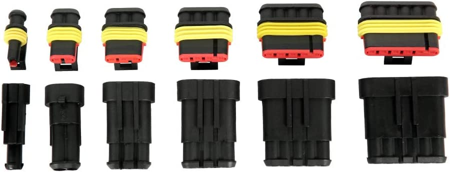 Auto Waterproof Electrical Wire Connectors Terminal Plug Car Connector Kit for Motorcycle Scooter Truck Boats,1-6 Way Pin 708PCS