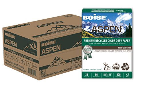 BOISE ASPEN Premium 100% Recycled Color Copy Paper, 8.5 x 11, 96 Bright White, 28 lb, 8 ream carton (4000 ()