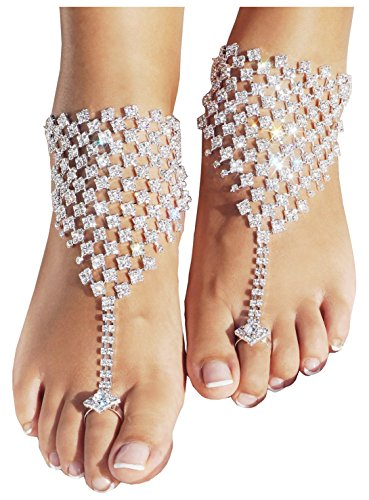 [Bienvenu 2 Pcs Foot Jewelry Barefoot Sandals Bridemaids Beach Wedding Jewelry Toe Ring Anklet,Sliver2] (Vintage Belly Dance Costumes For Sale)