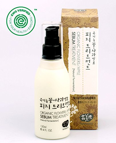 Whamisa Organic Flowers Apple Sebum Treatment 120ml, 4.06 fl. oz., Alcohol-Free Excess Sebuml Control for Oily Skin - Naturally fermented, EWG Verified