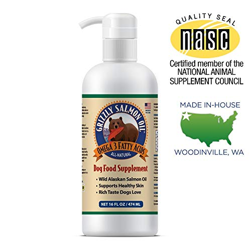 (Grizzly Wild Alaskan Salmon Oil Dog Food Supplement Omega 3 Fatty Acids, 16 oz)