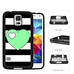 Black and White Horizontal Stripes with Teal Green Heart and Small White Heart Hard pc pc Phone Case Cover Samsung Galaxy S5 I9600