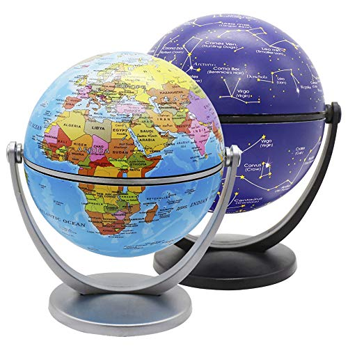 Exerz Mini Globe 4-inch / 10 cm 2 Pieces Set - 1 x Political, 1 x Stars & Constellations Swivels in All Directions Educational, Decorative, Unique, Small World, Desktop, Vintage (Mini Globe 2 Pack) ()