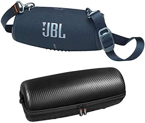 JBL Xtreme 3 Waterproof Bluetooth Speaker Bundle with gSport Carbon Fiber Case and Shoulder Strap (Blue)