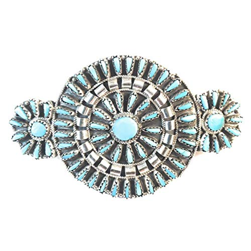 Vintage Navajo Sterling Turquoise Needlepoint Barrette Signed from Nizhoni Traders LLC