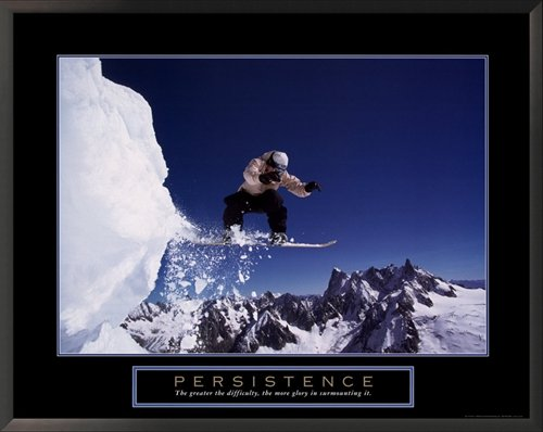 Snowboard Framed Motivational Poster - Persistence Golf