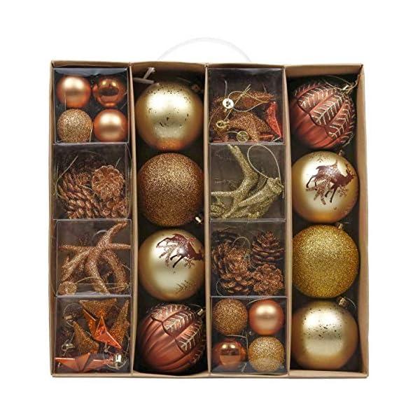 Valery Madelyn Palle di Natale 60 Pezzi di Palline di Natale, 3-5 cm di Rame del Bosco e Oro Infrangibile Ornamenti di Palla di Natale Decorazione per la Decorazione Dell'Albero di Natale 1 spesavip